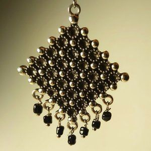 *3/$85* Drop earrings Artisan beaded silver tone